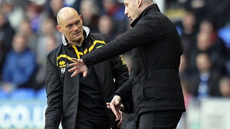 Canaries boss Alex Neil, left, pictured with his Reading counterpart Jaap Stam during his teams 3-1