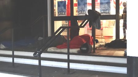 Rough sleepers in the doorway of Debenhams at Orford Place, Norwich, on Tuesday October 18 2016. Ph