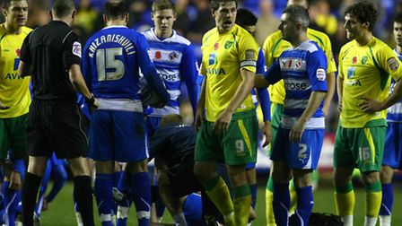Reading - Saturday November 13th, 2010: Grant Holt gets sent off during the Npower Championship matc