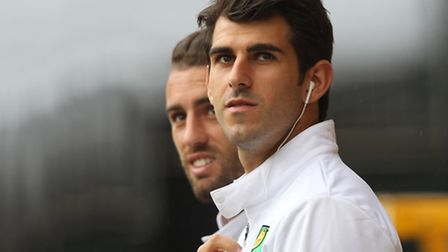 Norwich City's popular Portuguese pair Ivo Pinto and Nelson Oliveira, front. Picture: Paul Chesterto