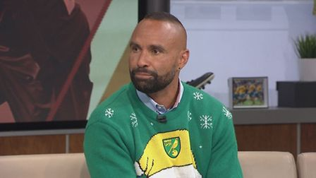 Archie Thompson sporting a Norwich City Christmas jumper on an Australian football show. Picture Thu