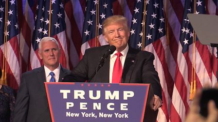 Donald Trump as he makes his acceptance speech in New York following his victory to become he 45th p