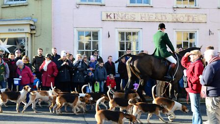 The Boxing Day hunt leaving Bungay with the Waveney Harriers on their traditional Boxing Day Hunt in