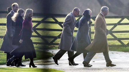 (lLeft-right front ) The Prince of Wales, the Duchess of Cornwall, the Duke of Edinburgh, (left-righ