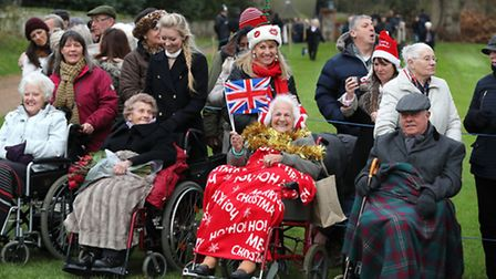 The public attend to see the royals at the morning Christmas Day service at St Mary Magdalene Church