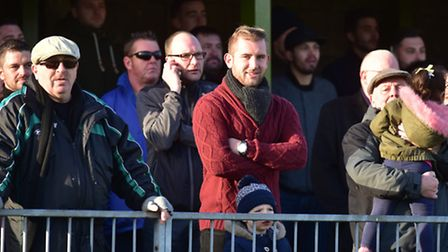 A crowd of more than 800 watched the derby between Great Yarmouth Town and Gorleston. Photo: Nick Bu