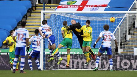 Yann Kermorgant scores Reading's first goal against Norwich City. Picture by Paul Chesterton/Focus I