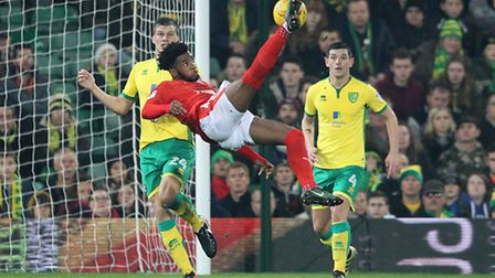 Kasey Palmer of Huddersfield Town tries an overhead shot on goal during the Sky Bet Championship ma