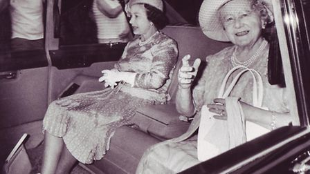 The Queen and Queen Mother on their way to Sandringham Church for morning service yesterday