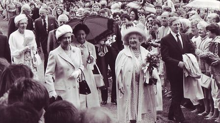 The Queen Mother leads the way, followed by the Queen and Princess Margret on the unscheduled walk b
