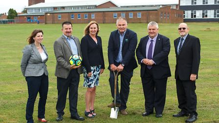 Marking the beginning of construction of a new 3G pitch off Swan Lane. Pictured: Bobbie Bennett, Lon
