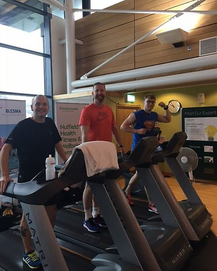 Iwan Roberts putting in the miles at Nuffield Health Centre.