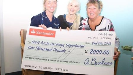 Andreanna Brookman (right) presentating a cheque in memory of her husband Michael at the Norfolk a