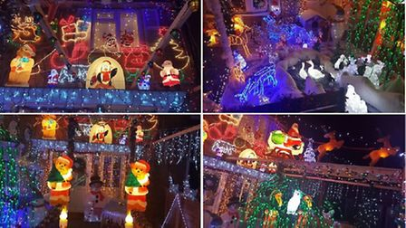 The Christmas lights on June and Peter Daws' house in Fulmerston Close, Thetford. Picture by Peter a