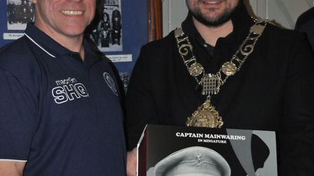 Sean Hedges-Quinn, sculptor of Thetford's famous Captain Mainwaring statue, with mayor of Thetford T