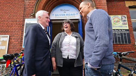 Shadow chancellor John McDonnell at The Silver Road Community Centre. Pictured with Clive Lewis MP a