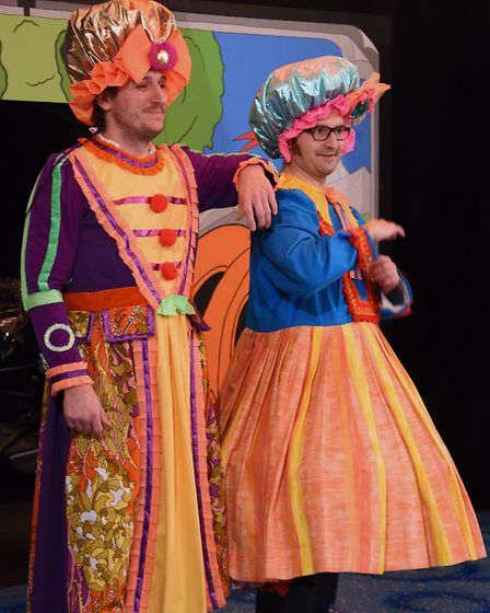 The ugly sisters, Kylie, left, (Lloyd Gorman), and Mylie (Joey Herzfeld) in My First Panto: Cinderel