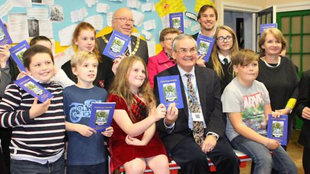 'Gold from Norfolk', Snettisham school book launch with pupils and author John Haden. Picture by Emm