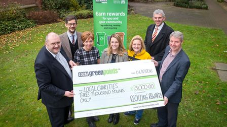 Local charities bag £3,000 from residents who recycle with Recycling Rewards scheme. Left-Right: Bri