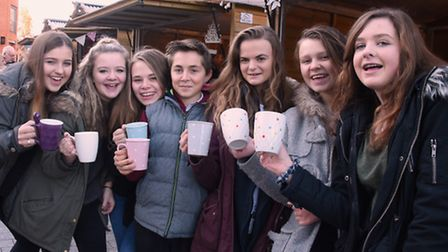 Young entrepreneurs sell their products at the Enterprise Christmas Market at the Forum. Year 10 stu