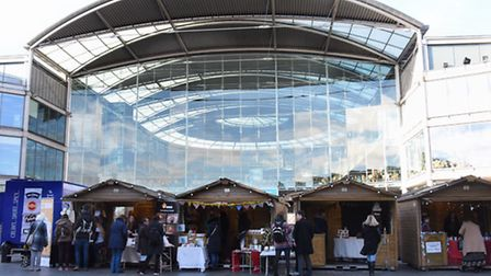 Young entrepreneurs sell their products at the Enterprise Christmas Market at the Forum. Picture: DE