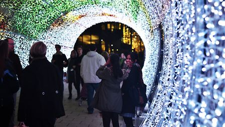 Members of the public enjoying the tunnel of Light on Hayhill, Norwich. Picture: ANTONY KELLY