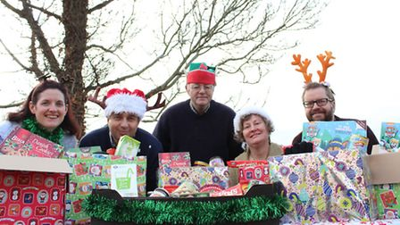 Members of Diss Town Council with their foodbank donations