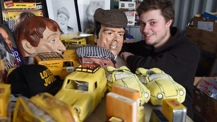 Oliver Allen, sales organiser at the Diss Auction Rooms, with a collection of Only Fools and Horses