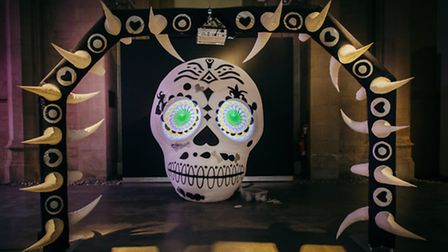 Spacecadets have designed a striking Day of the Dead inspired inflatable skull. Picture: James Mulke