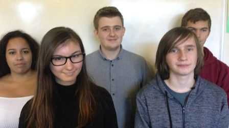 Diss Sixth Form students, from left Ana Lomba, Charlotte Diaper, Jed Mears, James Broom-Lynne and Bo