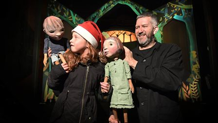 Horse and Bamboo production of Hansel and Gretel at The Norwich Puppet Theatre. Puppeteer Mark Whita