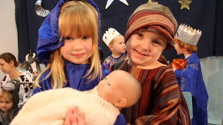 Ladybird Nursery Mary and Joseph Joanna and Elijah on stage at the Lighthouse Church. Picture: KAREN