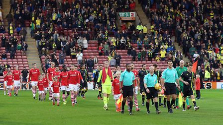 The traveling Norwich fans delivered their verdict at Oakwell. Picture by Paul Chesterton/Focus Imag
