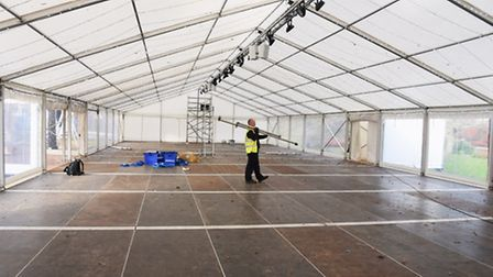 The marquee and lights are up at the Eastern Daily Press and Norwich Evening News Ice Rink. Picture: