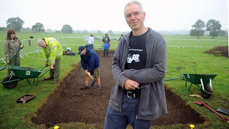 Dr Will Bowden, front, at the Roman town of Venta Icenorum. Picture: Denise Bradley