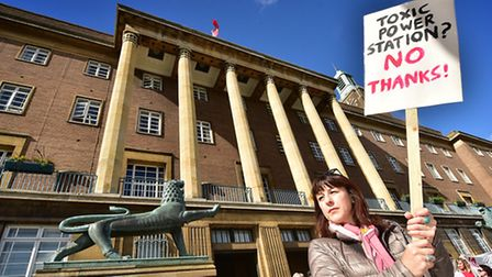 Say No to Generation Park protest at Norwich City Hall.Picture: ANTONY KELLY