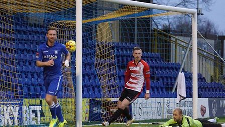 Ryan Jarvis celebrates after scoring for Lowestoft Town at Kingstonian FC. Photo by Shirley D Whitlo