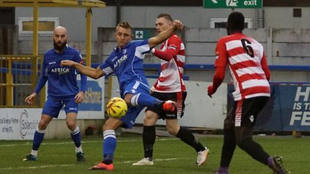 Jake Reed scoring the first goal for Lowestoft Town at Kingstonian. Shirley D Whitlow