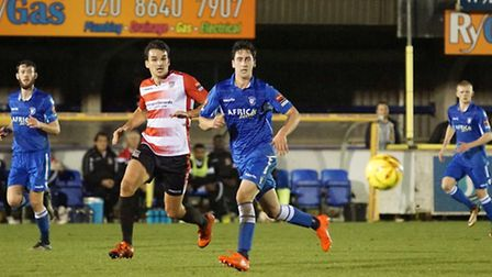 Lowestoft Town's Travis Cole (foreground) at Kingstonian FC. Photo by Shirley D Whitlow.