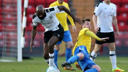 Jamal Fyfield (l) of Gateshead FC and Lee Stevenson of King's Lynn Town FC during the first round FA