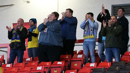 King's Lynn Town FC fans prior to the first round FA Trophy match at Gateshead International Stadium