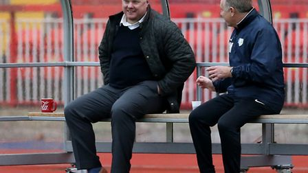 King's Lynn Town manager Gary Setchell (l) and head physio Phil Ward prior to the first round FA Tro