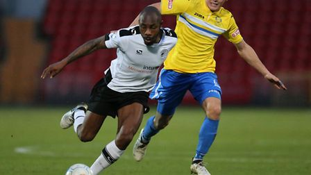 Emanuel Smith (l) of Gateshead FC and Toby Hilliard of King's Lynn Town FC during the first round FA
