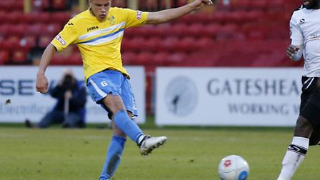 Shaun McWilliams of King's Lynn Town FC shooting during the first round FA Trophy match at Gateshead