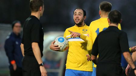 Sam Gaughran of King's Lynn Town FC appeals for a foul during the first round FA Trophy match at Gat