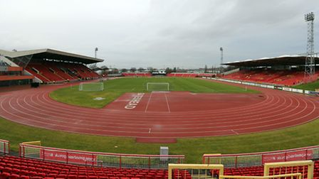 A general view of the Gateshead International Stadium prior to the first round FA Trophy match at Ga