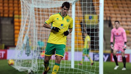 Nelson Oliveira of Norwich City after scoring the third goal during the Norwich City U23 v Milton Ke