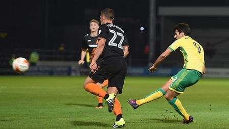 Nelson Oliveira of Norwich City U23 scores their fourth goal during the Checkatrade Trophy match at