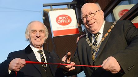 Barry Ayres and (R) Borough mayor David Whitby at the official opening of the Tilney St Lawrence Pos