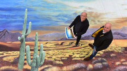 Stephen Wilson and Nick Garrod of Scenic Projects on one of the backgrounds for the Jack and the Bea